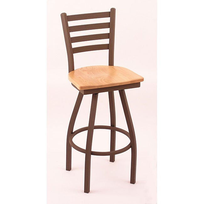 Cambridge Bronze 30-Inch Wooden Counter Swivel Stool with Natural-Oak Seat