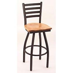 Cambridge Black 30-Inch Steel/Wood Counter Swivel Stool with a Medium Maple Seat