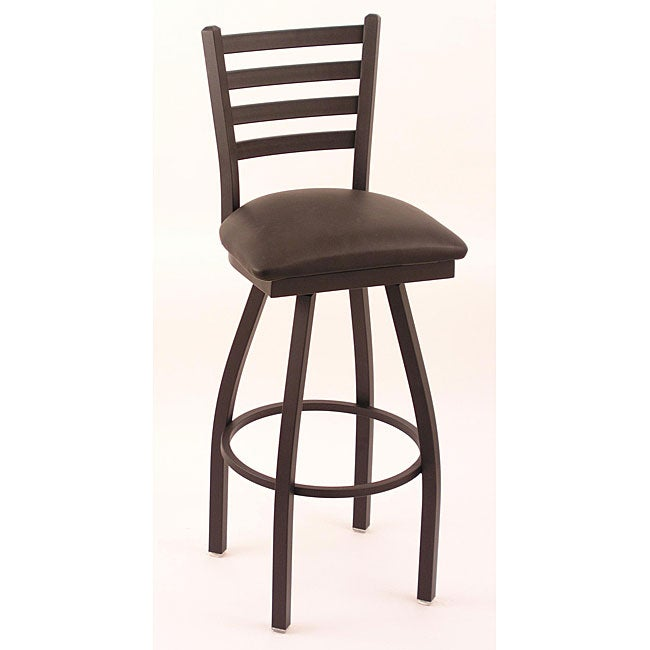 Cambridge 30-inch Black Counter Swivel Stool with Black Vinyl Cushion Seat