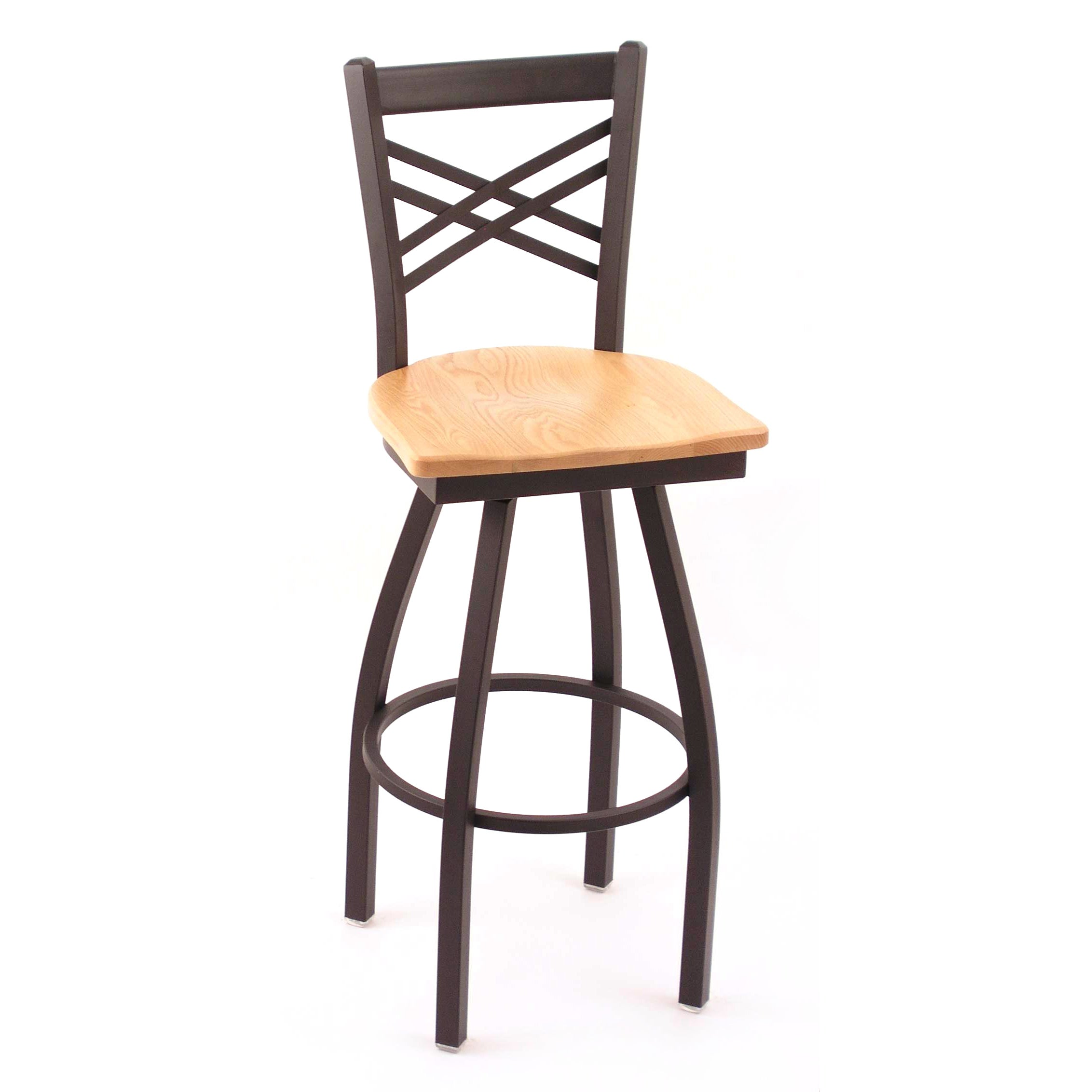 Cambridge Black 25 Inch Steel Counter Swivel Stool With Natural Oak
