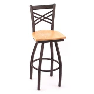 Cambridge Black 25-Inch Steel Counter Swivel Stool with Natural-Oak Seat