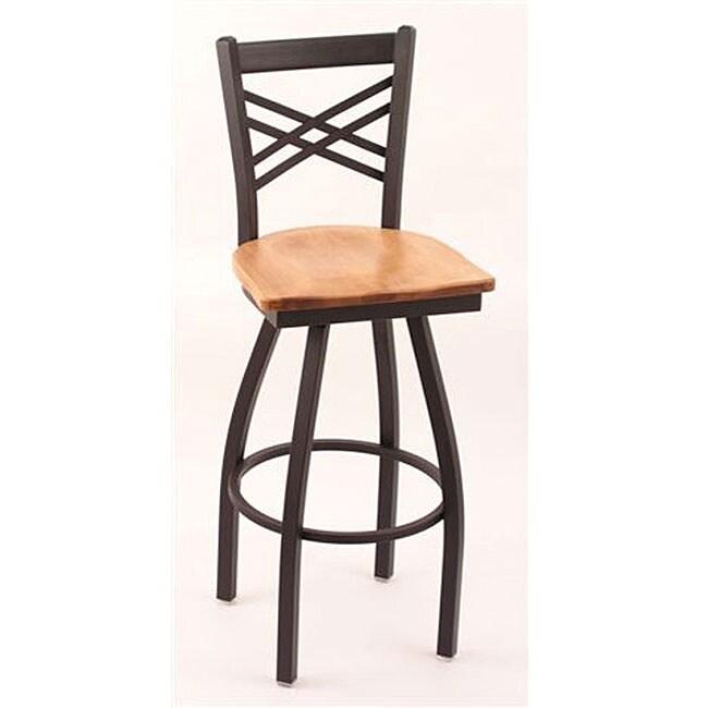 Cambridge Black 25-inch Counter Swivel Stool with Medium Maple Seat