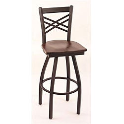 Cambridge Black Solid Wood 25-Inch Counter Swivel Stool with Dark Cherry Maple Seat
