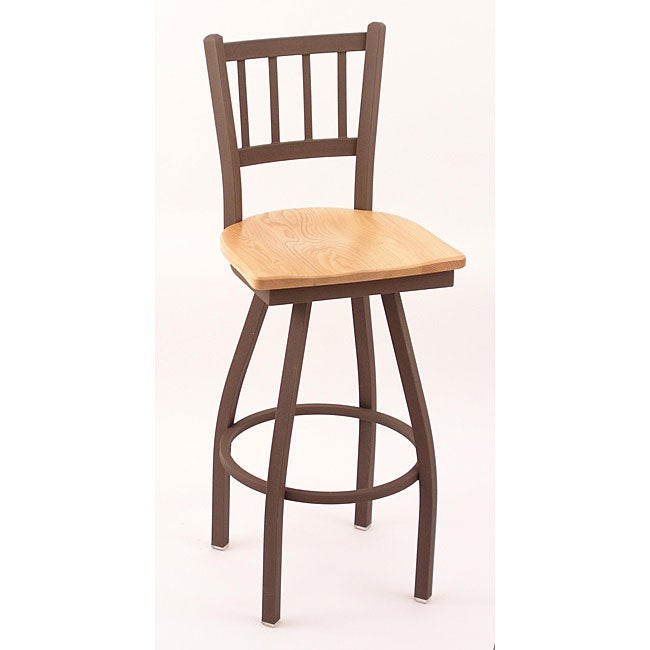Contemporary Cambridge Bronze 30-Inch Counter Swivel Stool with Natural-Oak Seat