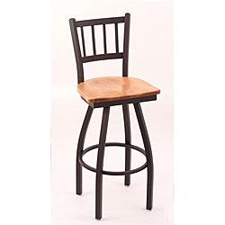 Cambridge Black 25-Inch Wrinkle Finish Counter Swivel Stool with Medium Maple Seat
