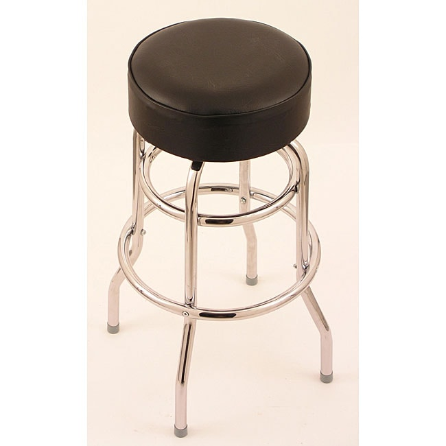 Chrome Double Ring 30 Inch Backless Counter Swivel Stool