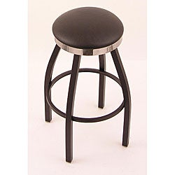 Black/ Chrome Single-ring 25-inch Backless Counter Swivel Stool with Black Vinyl Cushion Seat