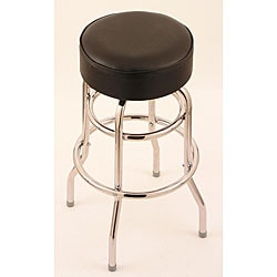 Chrome Double-ring 25-inch Backless Counter Swivel Stool with Black Vinyl Cushion Seat
