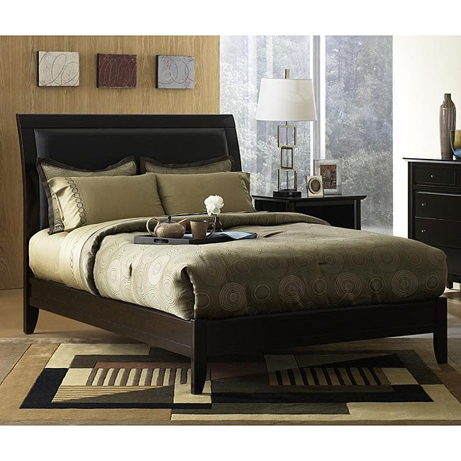 Padded Synthetic Leather King-size Sleigh Bed