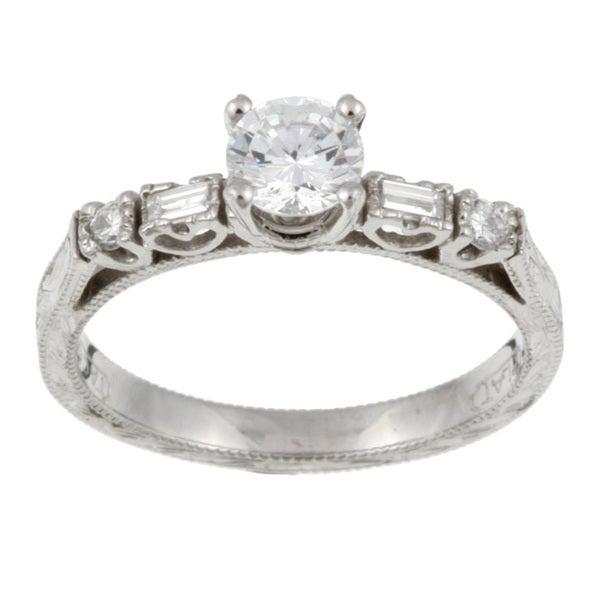 Tacori Platinum CZ and 1/6ct TDW Diamond Engraved Engagement Ring (G, VS)