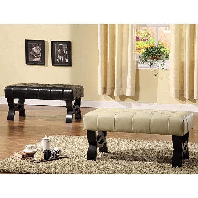 Shop Tufted Bicast Leather 36 Inch Bench Free Shipping