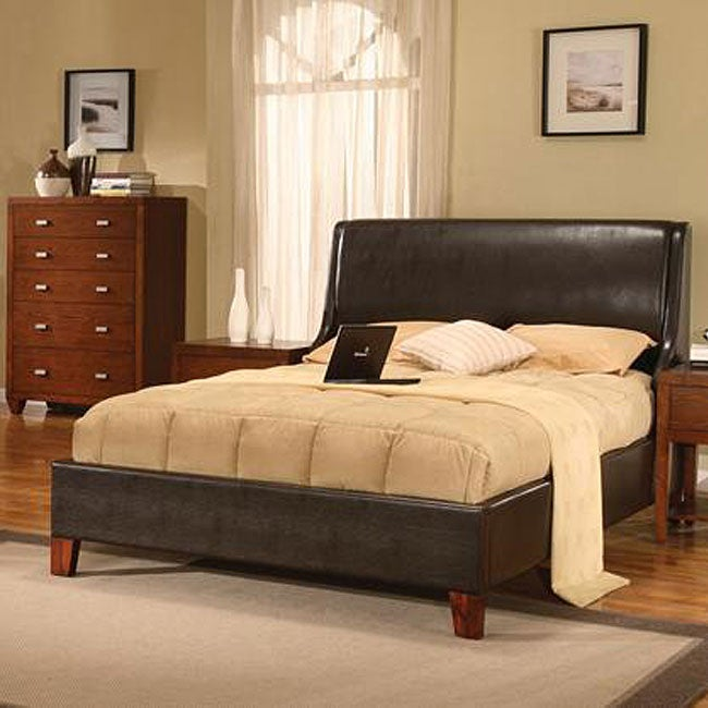 Synthetic Leather Twin-size Wingback Bed