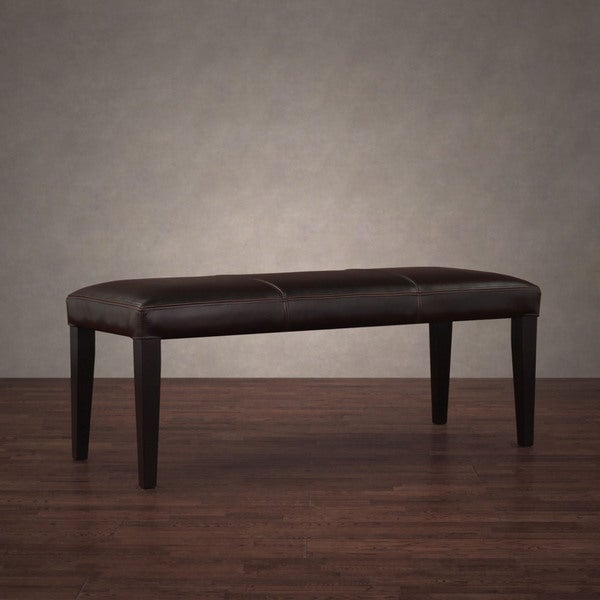 Madison Dark Brown Leather Bench