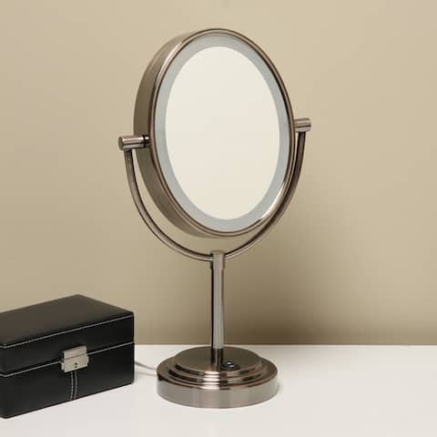 Conair Oiled Bronze Finish Double-sided 1X/7X Illuminated Mirror