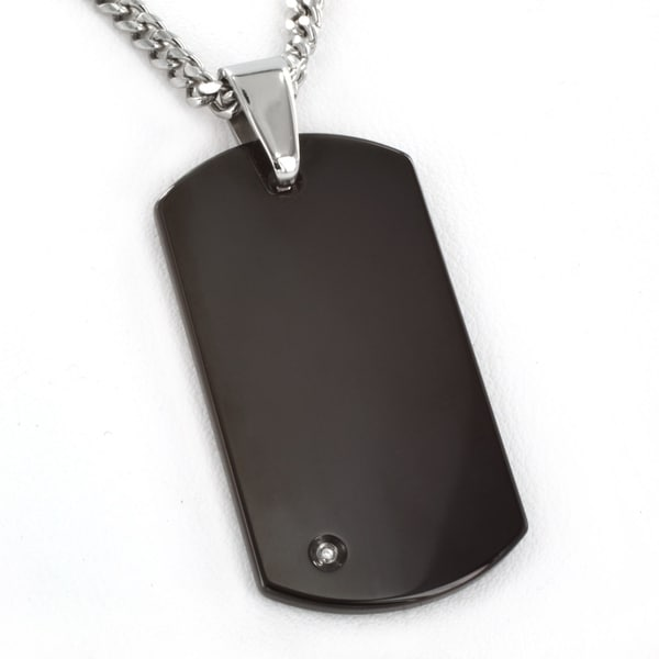 Crucible Diamond Black Plated Engravable Tungsten Dog Tag Pendant. Opens flyout.