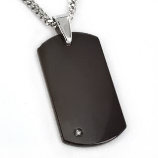 Crucible Blackplated Tungsten Men's Engravable Diamond Dog Tag Necklace|https://ak1.ostkcdn.com/images/products/4321676/P12297781.jpg?impolicy=medium