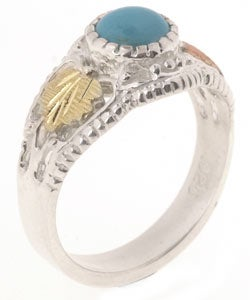 Black Hills Gold and Sterling Silver Turquoise Ring - Thumbnail 1