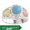 Black Hills Gold and Sterling Silver Turquoise Ring