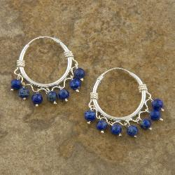 Sterling Silver Lapis Lazuli Hoop Earrings (Thailand) - Thumbnail 1