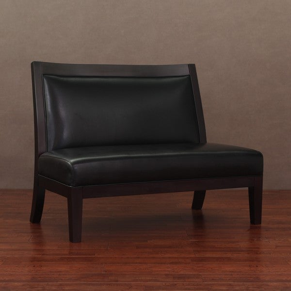 Connor Black Leather Loveseat