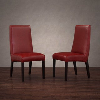 Monaco Burnt Red Leather Dining Chairs (Set of 2)