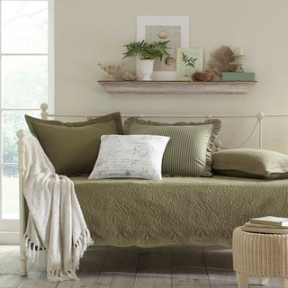 Trellis Aloe 5-piece Cotton Daybed Set with Intricate Stitching Detail
