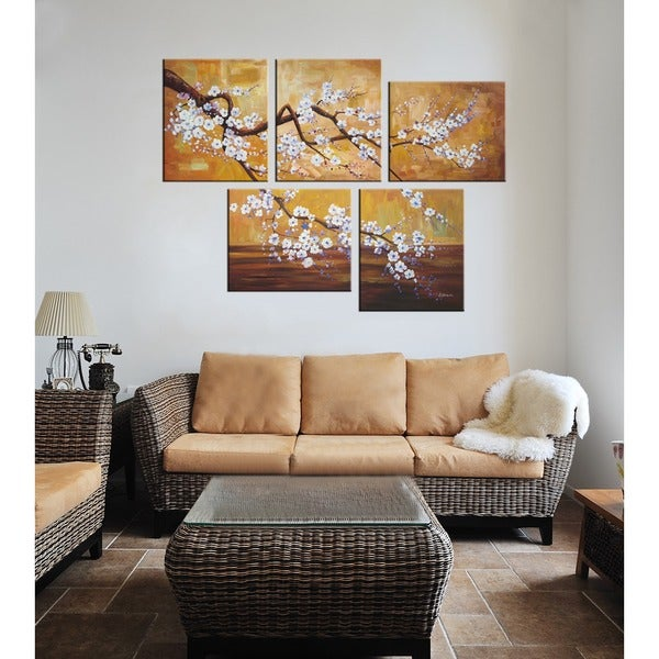 Plum Blossom Hand-painted Oil on Canvas Art Set