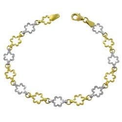 Fremada 14k Two-tone Gold Diamond-cut Flower Link Bracelet