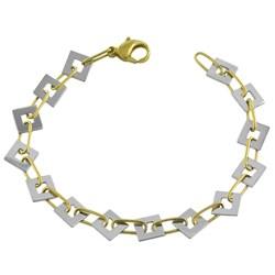 Fremada 14k Two-tone Gold Contempo Square Link Bracelet