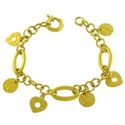 Fremada 14k Yellow Gold Etruscan Charm Bracelet (7.5-inch)