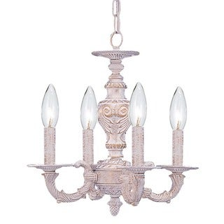 crystorama sutton 4light antique white mini chandelier