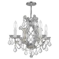 Crystorama Polished Chrome Hand-cut Crystals 4-light Mini Chandelier