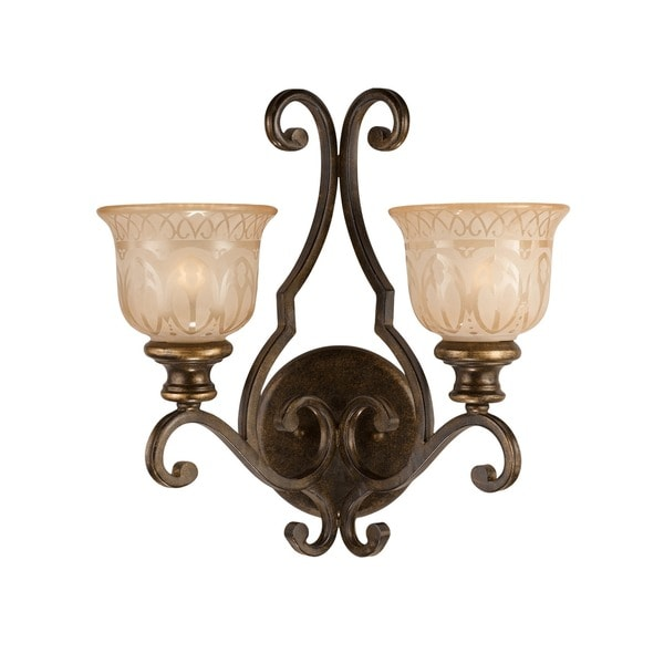 Crystorama Bronze Umber Amber Glass Shade 2-light Wall Sconce