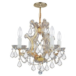 Crystorama Gold finish Hand-cut Crystals 4-light Mini-chandelier
