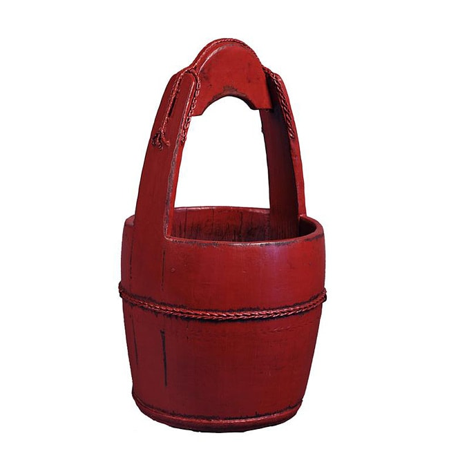 Antiqued Asian-style Red Wooden Handle Bucket