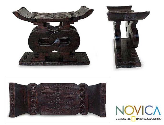 Wood 'Songhorn Lagoon' Throne Ottoman and End Table (Ghana)