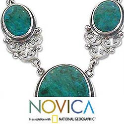 Graceful Serenity Handcrafted Artisan 925 Sterling Silver with Blue Green Chrysocolla Necklace and Earring Jewerly Set (Peru)