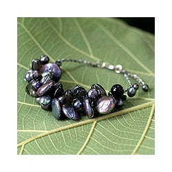 Pearl and Smokey Quartz 'Night Song' Cluster Bracelet (Thailand)