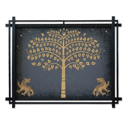 Handmade Acrylic Golden Bo Tree with Lions Canvas Painting (Thailand) - Grey/Black/Gold