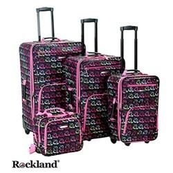 Rockland Hearts 4-piece Expandable Luggage Set