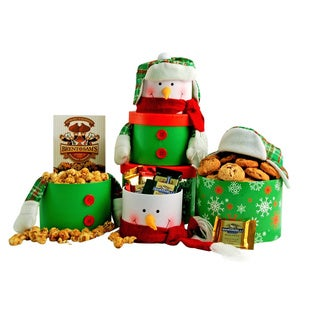 Smiling Snowman Holiday Gift Tower