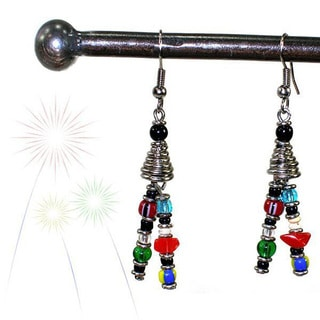 Handmade Double Strand Beaded 'Vibrant Life' Earrings (Kenya)