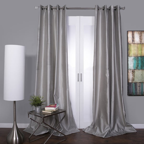Mia Lined Grommet Top 84-inch Textured Faux Silk Curtain Panel ...
