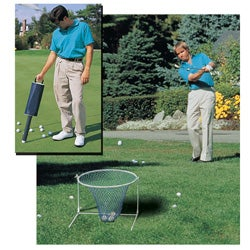 15-inch Adjustable Chipping Net and Collapsible 70-ball Shag Bag Combo - Thumbnail 0