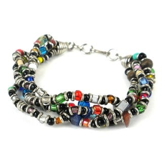 Handmade Beaded 'Colorful Opportunity' 4-strand Bracelet (Kenya)