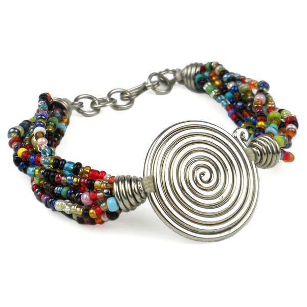 Handmade Silvertone 'Progress' Spiral Beaded Bracelet (Kenya)