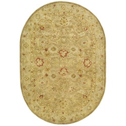Safavieh Handmade Majesty Light Brown/ Beige Wool Rug (4'6 x 6'6 Oval)