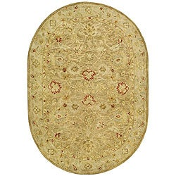 Safavieh Handmade Majesty Light Brown/ Beige Wool Rug (7'6 x 9'6 Oval)