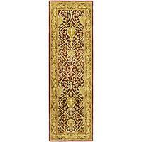 """Safavieh Handmade Mahal Red/ Gold New Zealand Wool Runner - 2'6"""" x 14'"""