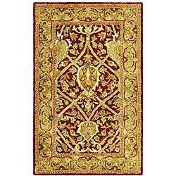 Safavieh Handmade Mahal Red/ Gold New Zealand Wool Rug (3' x 5')